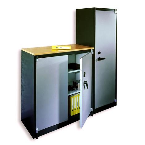 Armoire à portes battantes de sécurité C+P, 3niveaux, HxlxP 1226x930x500 mm, gris noir/gris clair