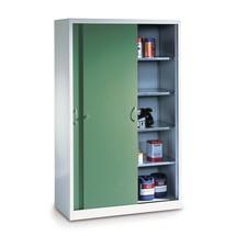 Armoire à portes coulissantes d'atelier C+P avec 8tablettes, HxlxP 1950x1600x500 mm, cloison de séparation