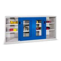 Armoire à portes coulissantes PAVOY avec regards + 4 tablettes + cloison de séparation, H x l x P 1 000 x 2 000 x 400 mm