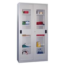 Armoire à portes coulissantes PAVOY avec regards + 8 tablettes + cloison de séparation, H x l x P 1 950 x 1 500 x 600 mm