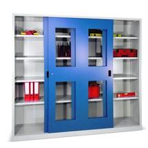 Armoire à portes coulissantes PAVOY avec regards + 8 tablettes + cloison de séparation, H x l x P 1 950 x 2 000 x 400 mm