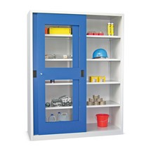 Armoire à portes coulissantes PAVOY avec regards + 8 tablettes + cloison de séparation, H x l x P 1 950 x 2 000 x 600 mm
