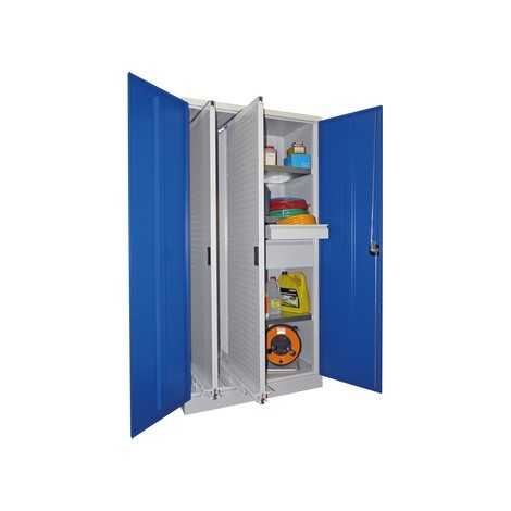 Armoire à tiroir vertical PAVOY avec cloison de séparation + 2 tiroirs à parois perforées + 3 tablettes + 2 tiroirs