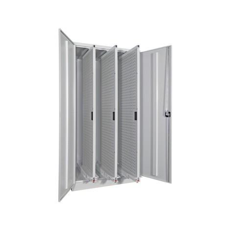 Armoire à tiroir vertical PAVOY avec panneaux perforés, 4 tiroirs, HxlxP 1950 x 1000 x 600 mm