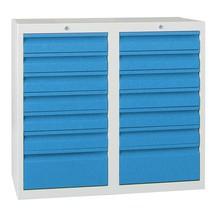 Armoire à tiroirs légère PAVOY, guidage à coulissement, tiroirs 12x100mm + 2x200mm, largeur 1000mm