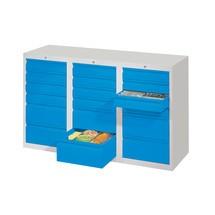 Armoire à tiroirs légère PAVOY, guidage à coulissement, tiroirs 18x100mm + 3x200mm, largeur 1500mm
