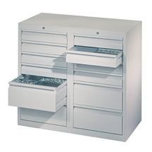 Armoire à tiroirs légère PAVOY, guidage à coulissement, tiroirs 8x100mm + 4x200mm, largeur 1000mm
