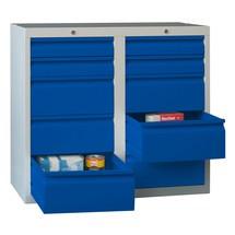 Armoire à tiroirs légère PAVOY, guidage à galets, tiroirs 4x100mm + 6x200mm, largeur 1000mm