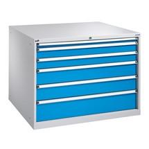 Armoire à tiroirs PAVOY, hauteur 1 000 mm, tiroirs 1x100mm + 4x200mm, largeur 715mm