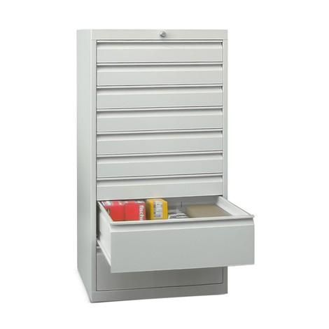 Armoire à tiroirs PAVOY, hauteur 1 200 mm, tiroirs 7x100mm + 2x200mm, largeur 500mm