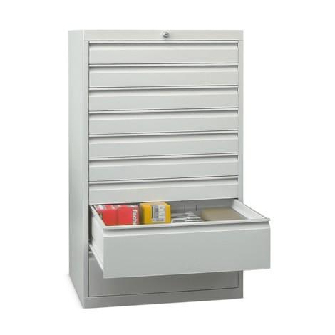 Armoire à tiroirs PAVOY, hauteur 1 200 mm, tiroirs 7x100mm + 2x200mm, largeur 715mm
