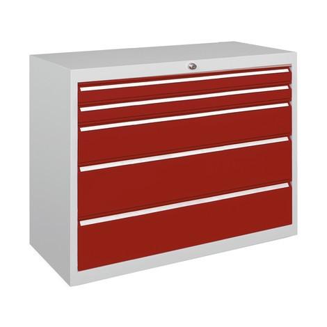 Armoire à tiroirs PAVOY, hauteur 800 mm, tiroirs 2x75mm + 1x150mm + 2x200mm, largeur 1023mm