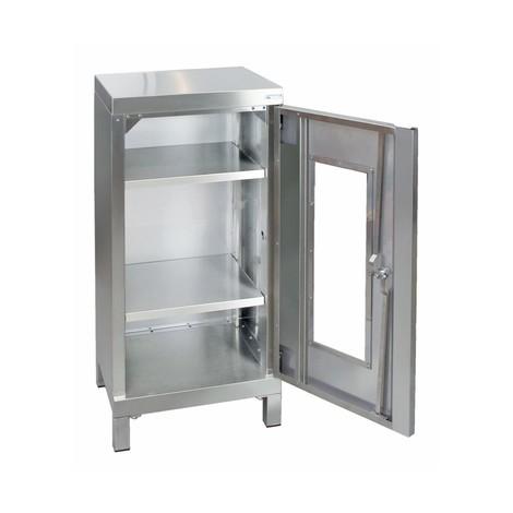 Armoire en acier inoxydable stumpf® avec porte vitrée, pieds carrés et vis de réglage