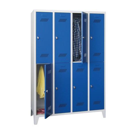 Armoire-penderie BASIC avec pieds et fermeture à pêne tournant, 2niveaux, 8compartiments, HxlxP 1850x1230x500mm