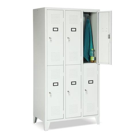Armoire-penderie Portofino, 2niveaux, 3x2compartiments, HxlxP 1800x1200x500mm, avec pieds
