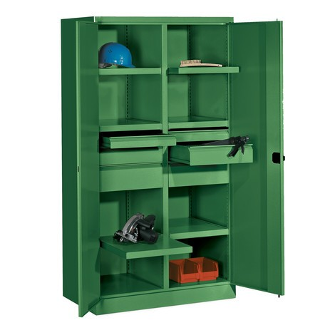 Armoire pour charges lourdes PAVOY Premium avec paroi intermédiaire, 6tablettes + tiroirs 6x175mm