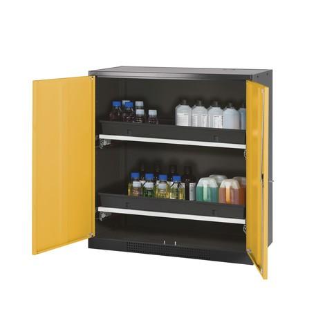 Armoire pour produits chimiques et toxiques asecos® avec tablettes extractibles, HxlxP 1105 x 1055 x 520 mm