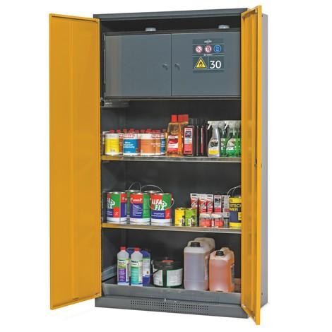Armoire pour produits chimiques et toxiques avec coffre de sécurité type 30, asecos®, 2 tablettes, 1 bac de rétention