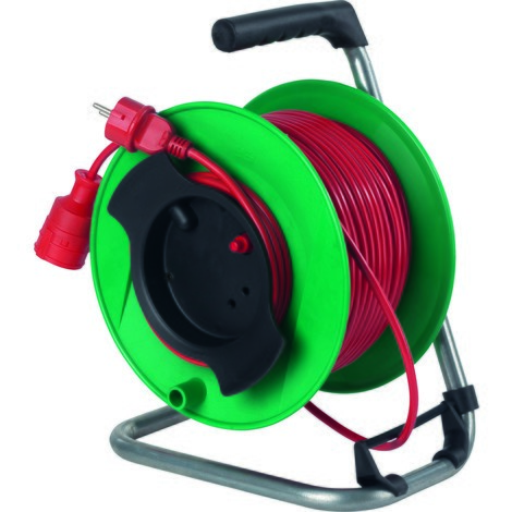 as-Schwabe Sicherheits-Gerätetrommel IP20, grün, Kunststoffmantelleitung