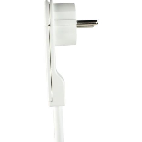 as-Schwabe Steckdosenleiste 5-fach, 2m, weiß, Kunststoffmantelleitung, mit Schalter und Flachstecker
