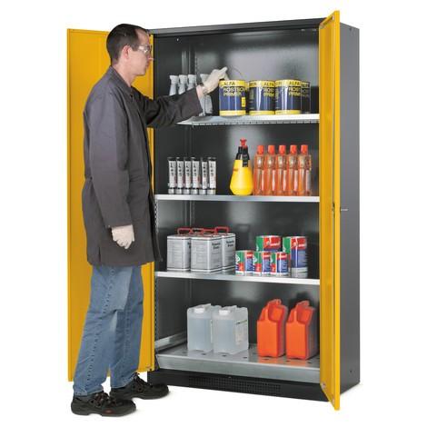Asecos® szafka chemiczno-toksyczna z półkami, wys. wys. x szer. x gł.. 1 950 x 1,55 x 520 mm