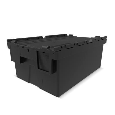 Återanvändbar stapelbar back av polypropenregranulat med fällbart lock