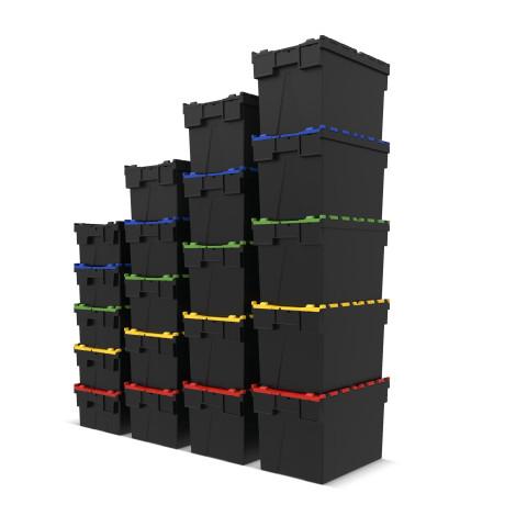 Återanvändbar stapelbehållare tillverkad av polypropenregranulat med lock