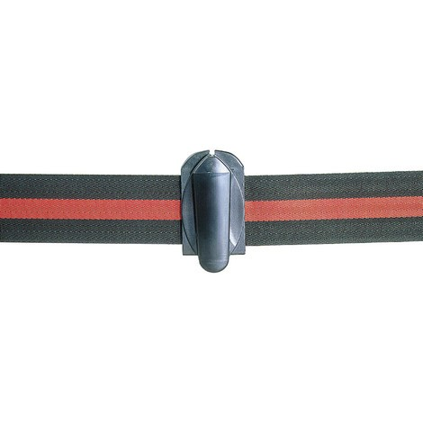 Attache de ruban pour systèmes à ruban rétracteur, de délimitation et de canalisation.