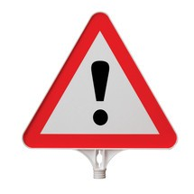"""Attention"" information sign, triangle, for traffic cones and barrier posts"