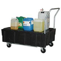 Auffangwanne aus Polyethylen für 2x200 Liter Fässer, mit Rollen und Schiebebügel