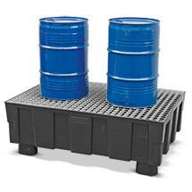 Auffangwanne aus Polyethylen für 2x200 Liter Fässer, mit Sockelfüßen