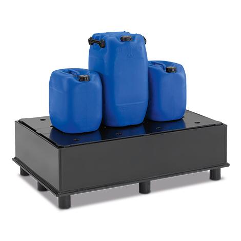 Auffangwanne aus Polyethylen für Fässer. Mit Lochplatte