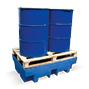 Auffangwanne aus Polyethylen mit PE-Gitterrost. 2-4x200 Liter Fässer