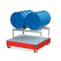 Auffangwanne aus Stahl für 1 bis 4x200 Liter Fässer. Mit Gitterrost