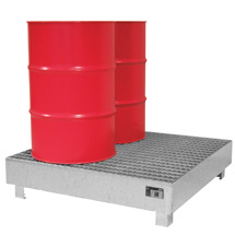 Auffangwanne aus Stahl für 2 bis 4 x 200 Liter Fässer. Mit Gitterrost