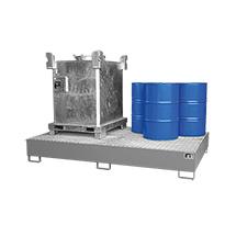 Auffangwanne aus Stahl für 2 Container oder 10x200 Liter Fässer