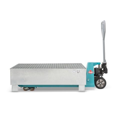Auffangwanne aus Stahl für 200-Liter-Fässer, inkl. Gitterrost, feuerverzinkt