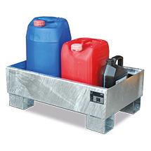 Auffangwanne aus Stahl für 60-Liter-Fässer. Ohne Gitterrost