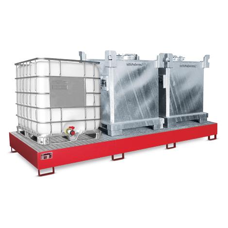 Auffangwanne aus Stahl für bis zu 3 Container. Volumen 1000 Liter