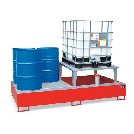 Auffangwanne aus Stahl für IBC, inkl. Abfüllaufsatz und Gitterrost