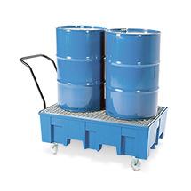 Auffangwanne PE, Für max. 2 x 200 Liter-Fass, fahrbar, Wahlweise mit oder ohne Gitterrost