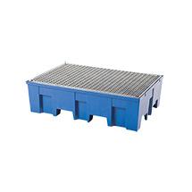 Auffangwanne PE, Für max. 2 x 200-Liter-Fass, Unterfahrbar, Wahlweise mit und ohne Gitterrost