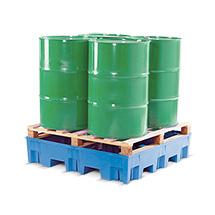 Auffangwanne PE, Für max. 4 x 200 Liter-Fässer, Unterfahrbar, Wahlweise mit oder ohne Gitterrost