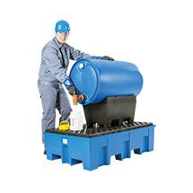 Auffangwanne PE, unterfahrbar, für 2 x 200-L-Fässer