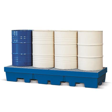 Auffangwanne Polyethylen, unterfahrbar. Bis 4x200l-Fässer, Auffangvolumen 405l