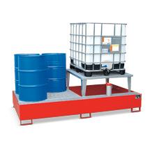 Auffangwannen aus Stahl, 1000 Liter Auffangvol., Max. Anzahl IBC 3, 1 Aufsatz