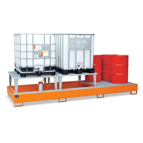 Auffangwannen aus Stahl, 1000 Liter Auffangvol., Max. Anzahl IBC 3, 2 Aufsätze