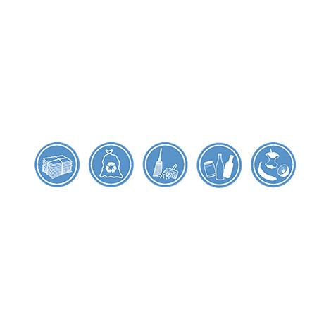 Aufklebersatz,  5 verschiedene Symbole als Set, Ø 70 mm