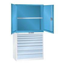 Aufsatz-Flügeltürschrank für LISTA Schubladenschrank, HxBxT 1.000 x 1.023 x 725 mm