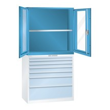 Aufsatz-Flügeltürschrank mit Sichtfenster für Schubladenschrank LISTA, HxBxT 1.000 x 1.023 x 725 mm